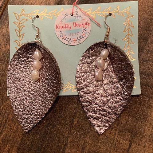 Gunmetal Leather Leaf with Pearl Earrings