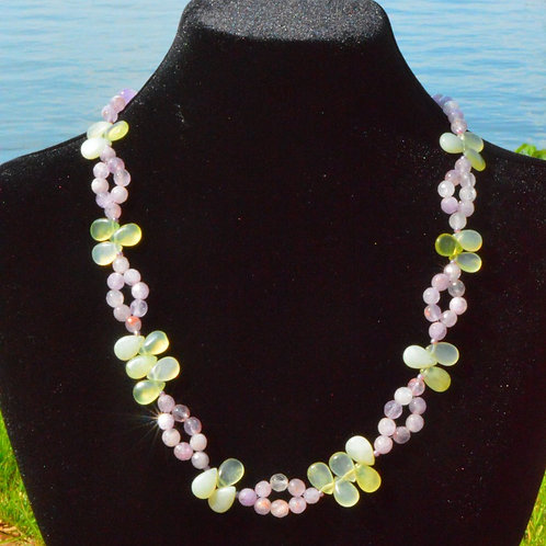 Amethyst and Jade Flower Necklace