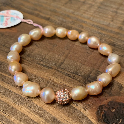 Peach Pearls with Pave Bracelet