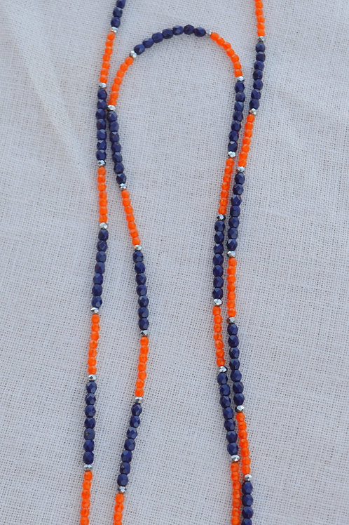 Navy and Orange Crystal Multi-Way Wrap