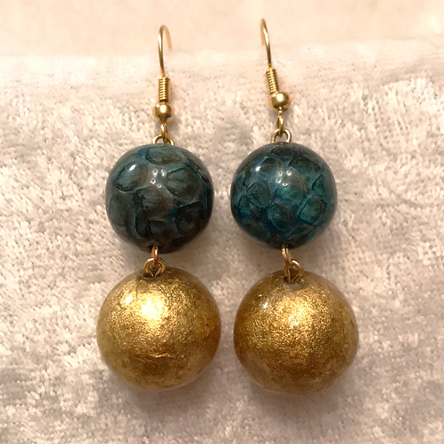 Blue Snakeskin and Gold Bead Stack Earring