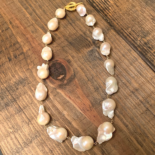 Natural Freshwater Baroque Pearls Wire-Wrapped with 14k Goldfill Necklace