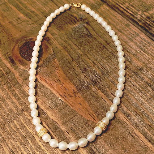 Freshwater Pearls with Gold Pave Choker