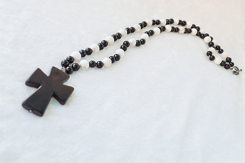 Black Cross with Onyx and White Buffalo Turquoise