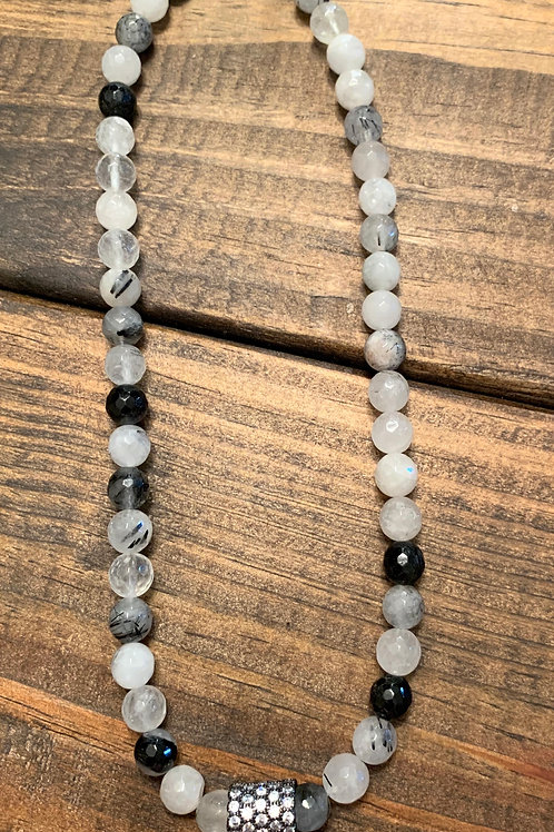 Tourmilated Quartz with Pave Choker