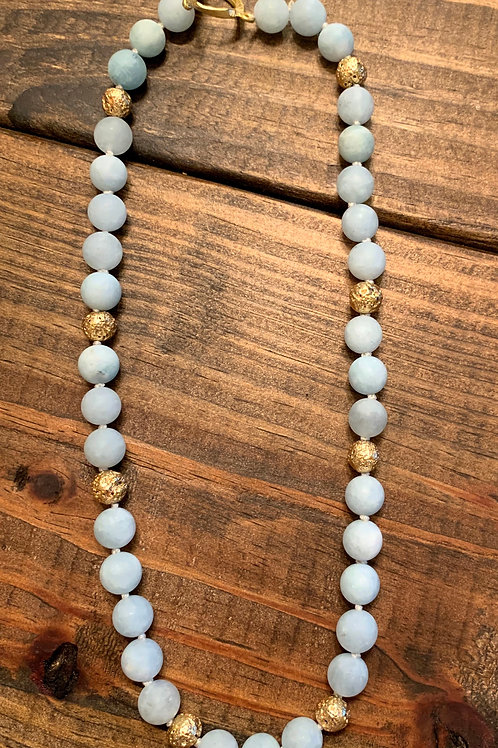 Matte Aquamarine with Gold Lava Rocks Necklace
