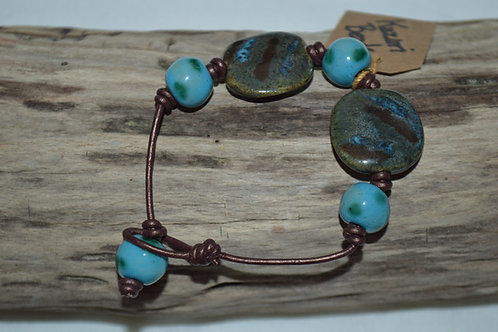Brown/Turquoise Kazuri Beads Leather Knotted