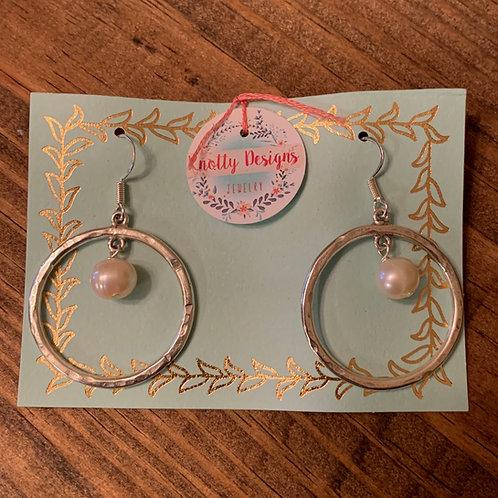 Silver Hoop with Pearl Earring