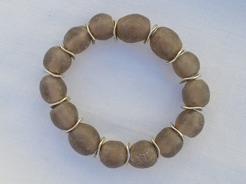Brown African Glass with Silver Spacers