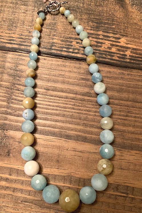 Graduated Faceted Aquamarine Necklace