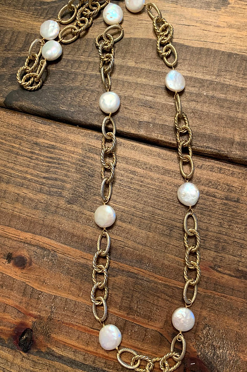 Gold Chain with Coin Pearls Necklace