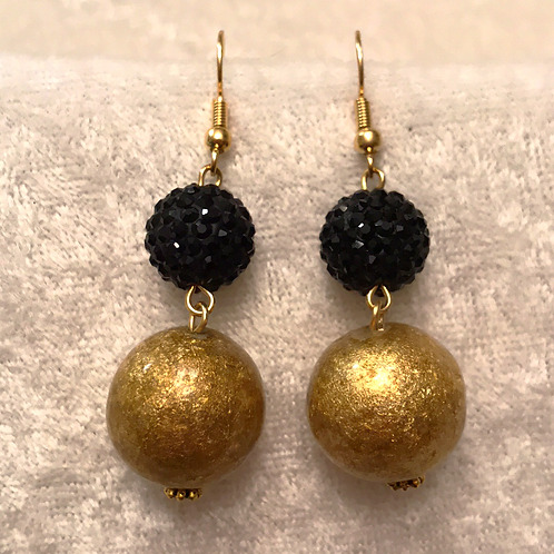 Black Pave with Gold Bead Stack Earring