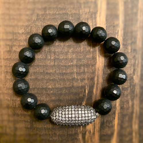 Gunmetal Large Pave with Faceted Onyx Bracelet