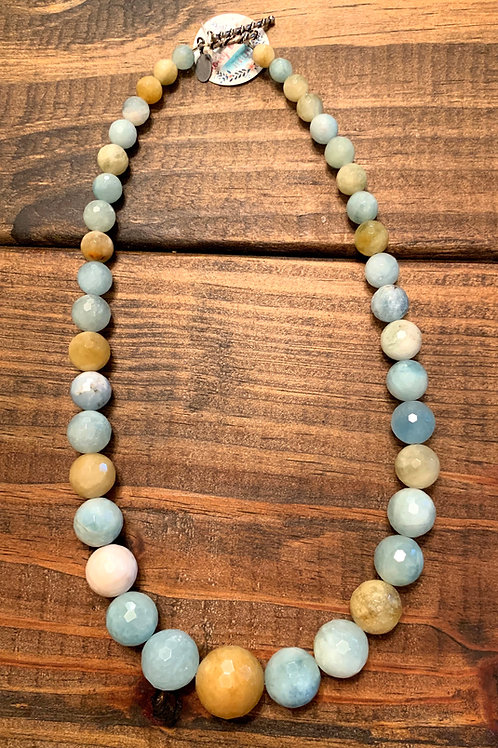 Aquamarine with Sterling Silver Clasp Necklace