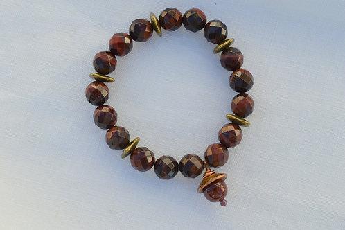 Cherry Tigers Eye with Acorn Bracelet