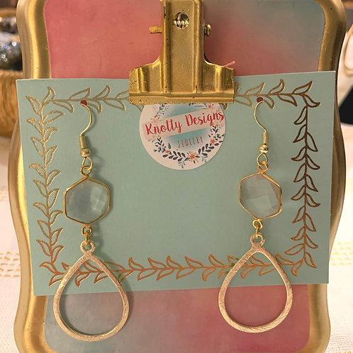Rose Quartz with Gold Teardrop Earrings