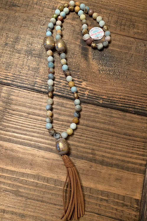 Amazonite with Kazuri Long Tassel Necklace