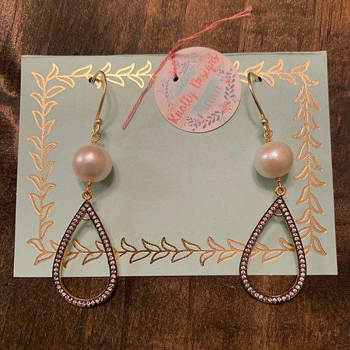 Pearl with Rhinestone Teardrop Earrings
