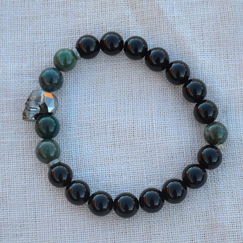 Gunmetal Crystal Skull with Onyx and Moss Agate