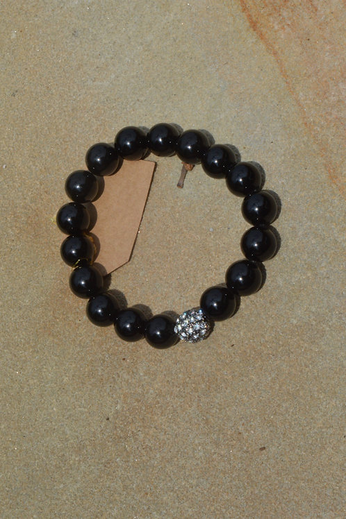 Pave Ball with Onyx Elastic Bracelet