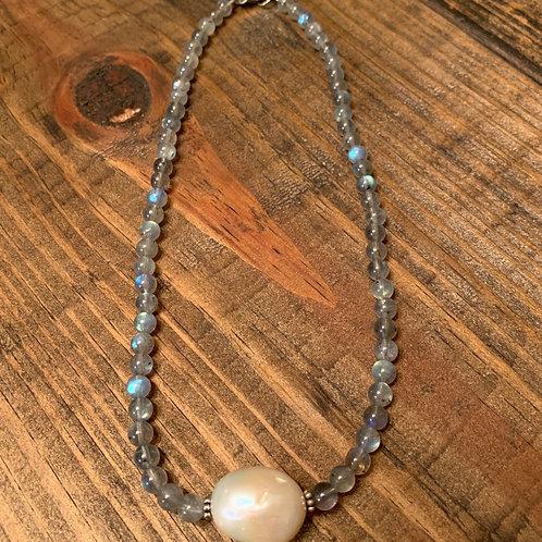 Labradorite with Baroque Pearl Choker