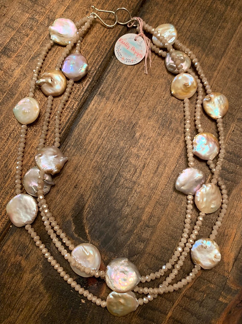 Triple Strand Crystal and Coin Pearl Necklace