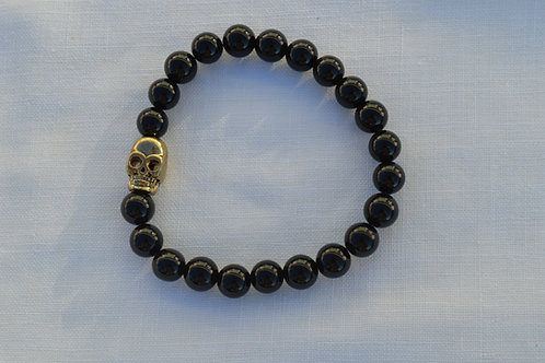 Gold Metal Skull with Onyx