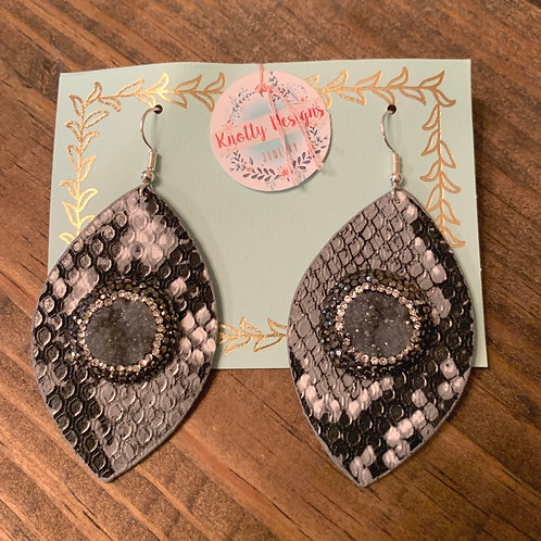 Snakeskin with Druzy Leather Earrings