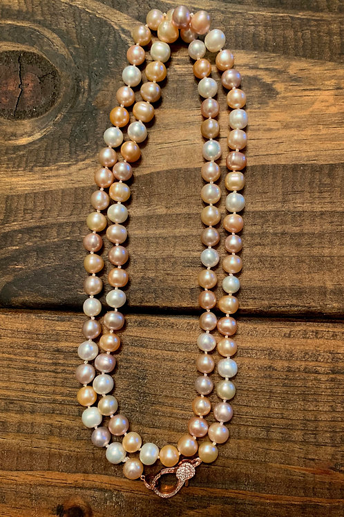 Natural Pink Freshwater Pearls Long Knotted Necklace