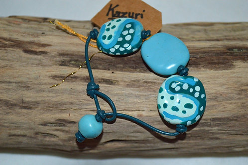 Light Blue/White/Blue Green Kazuri Beads Leather