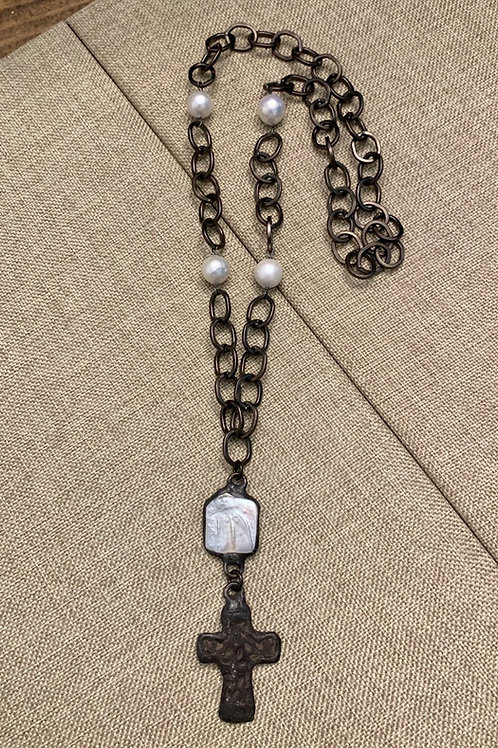 Metal Cross and Pearl Rustic Gunmetal Necklace