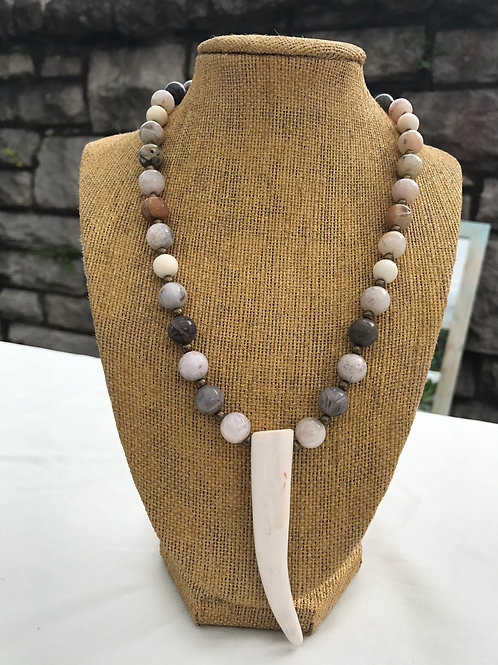 Deer Antler with Bamboo Agate Necklace