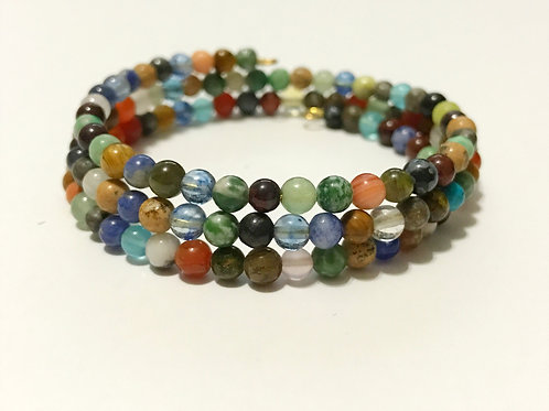 Multi Gemstone Memory Wire Bracelet
