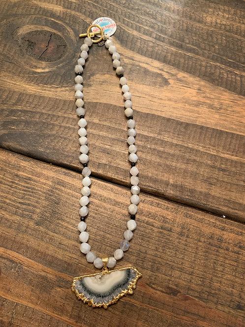 Grey Agate with Quartz Pendant Necklace