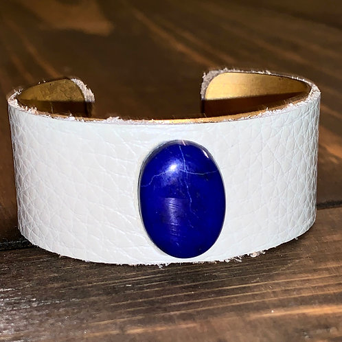 Lapis with Cream Leather Cuff