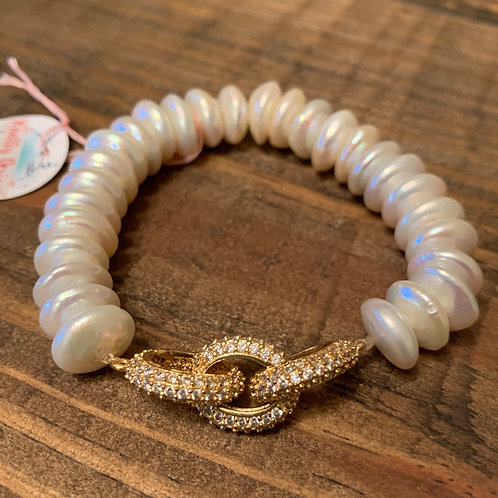 Pave Chain with Pearls Bracelet