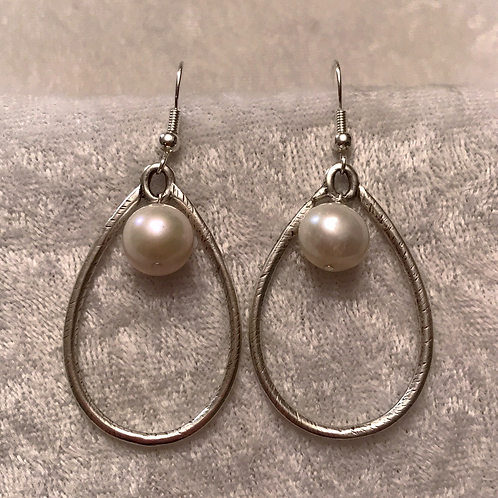 Silver Teardrop with Pearl Earring