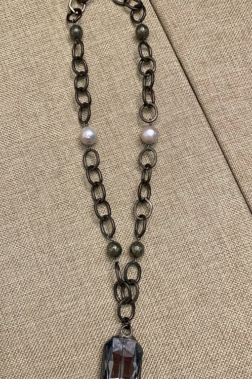 Gunmetal Crystal, Pyrite and Pearl Rustic Gunmetal Necklace