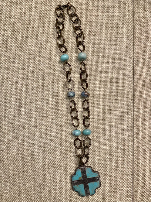 Turquoise Cross with Mongolian Opals Rustic Bronze Necklace
