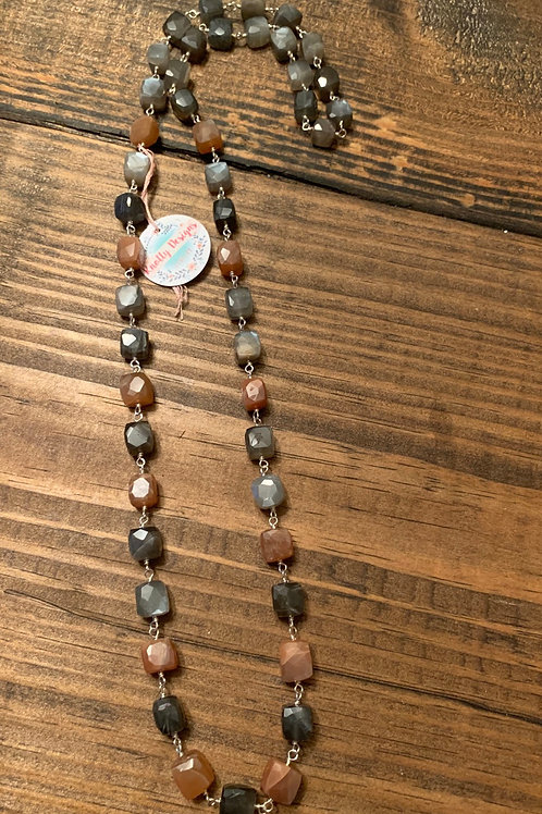 Peach and Gray Moonstone Wire-Wrapped Necklace