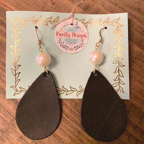 Pearl with Black Leather Teardrop Earrings
