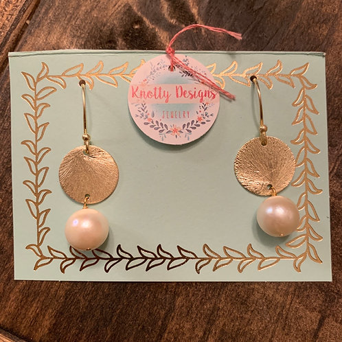 Gold Disc with Pearl Earrings