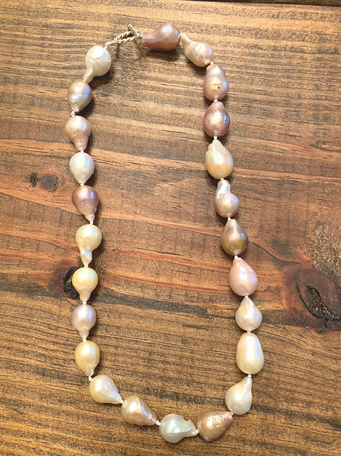 Pink Freshwater Baroque Pearl Knotted Necklace