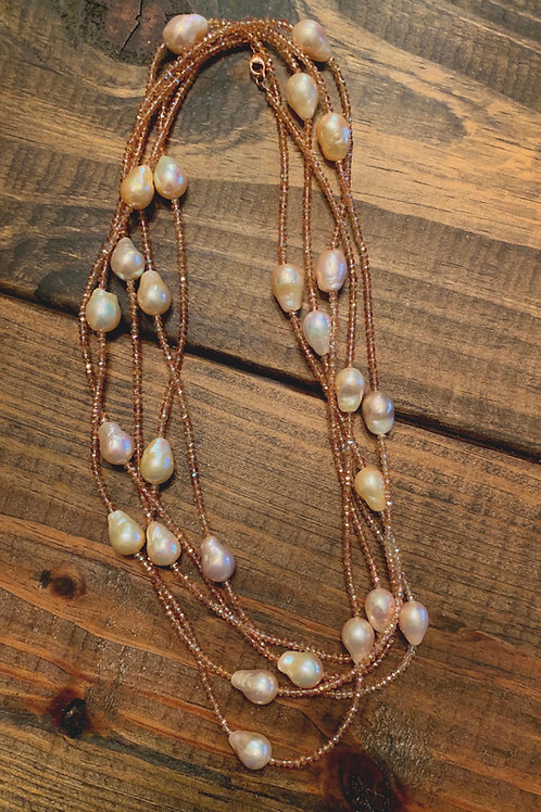 Pink Freshwater Baroque Pearls with Crystals Necklace