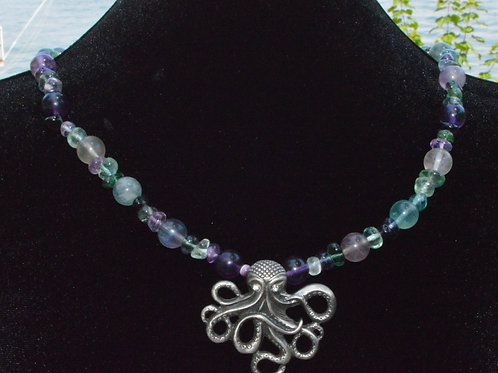 Octopus with Rainbow Fluorite Necklace