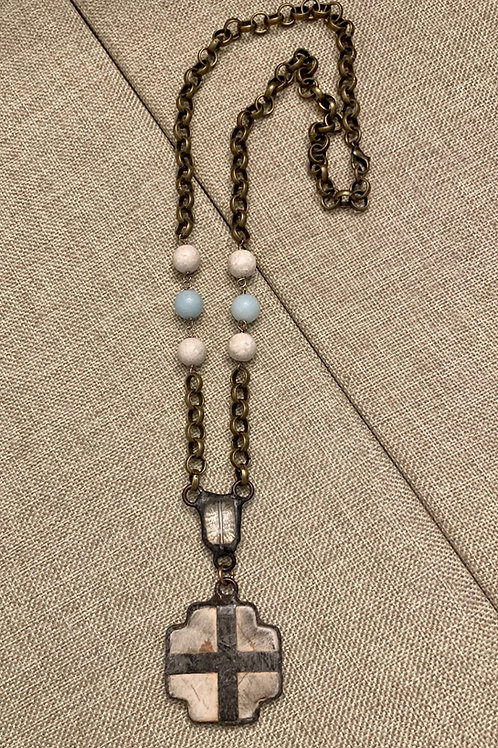 Cross, Crystal and Amazonite Rustic Bronze Necklace