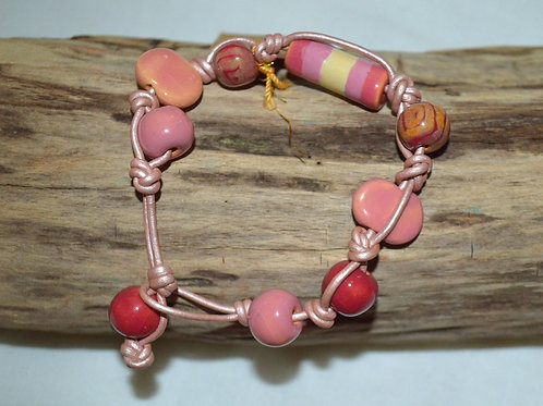 Pink Variations Kazuri Beads Leather Knotted