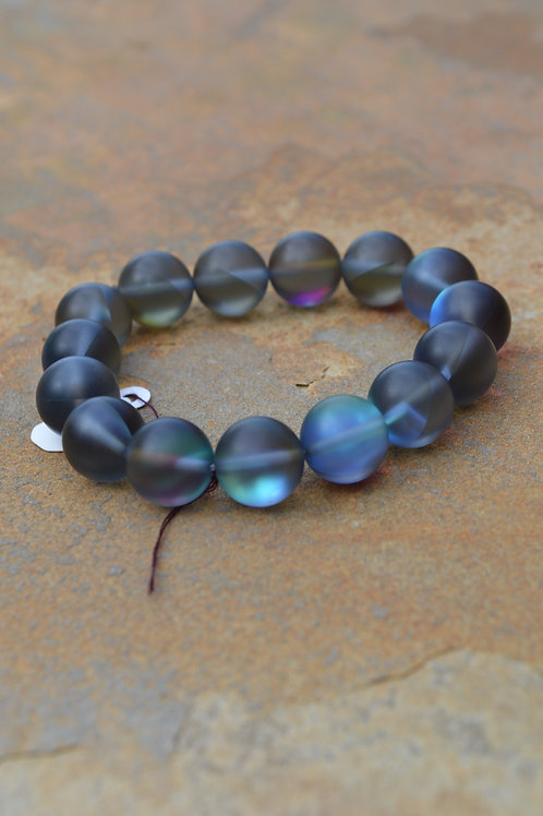 Blue Grey Moon Bead Bracelet