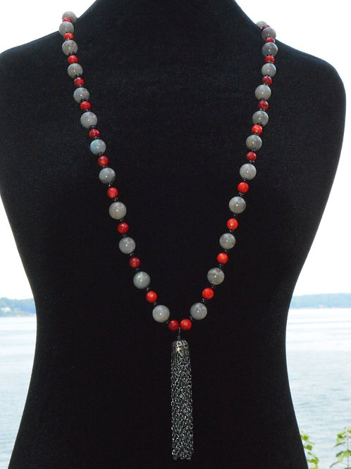 Chain Tassel with Labradorite and Dyed Red Jade
