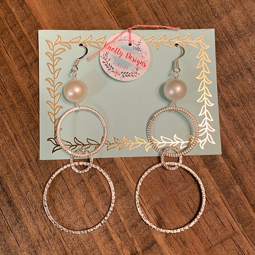 Pearl with Double Silver Hoop Earrings